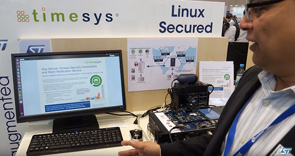 Timesys CEO Atul Bansal giving vulnerability scanner and patch notifier demo at Embedded World 2019